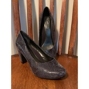 Faux snake skin pumps